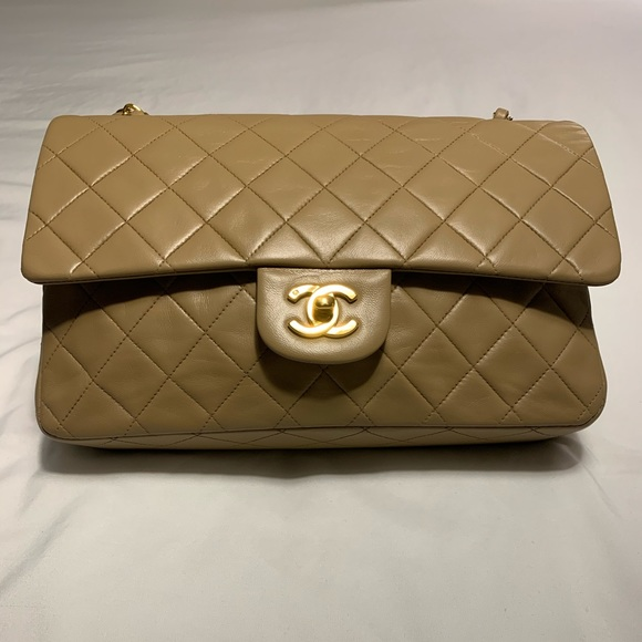 CHANEL Handbags - Chanel Double Flap Classic Beige  Shoulder Bag